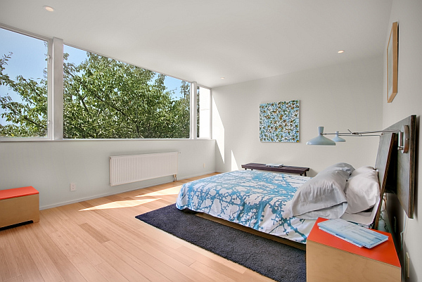 Modern Backyard House – Shed Architecture 7 – large bedroom with big windows and forest view