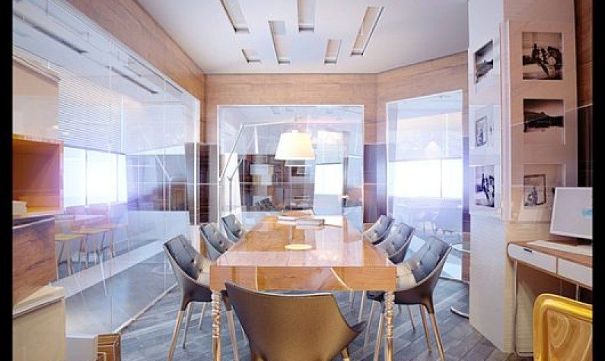 Contemporary Meeting Room With Glossy Furnishings by Denis Chigidin