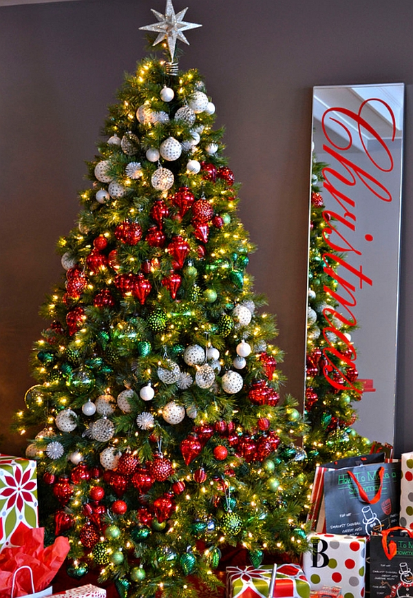 Ornaments decorating Christmas tree