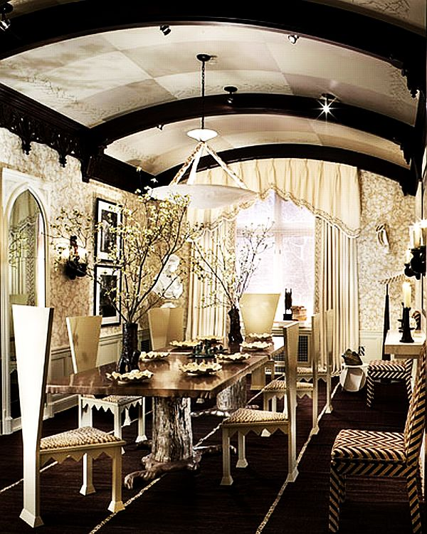 gothic inspired dining room area