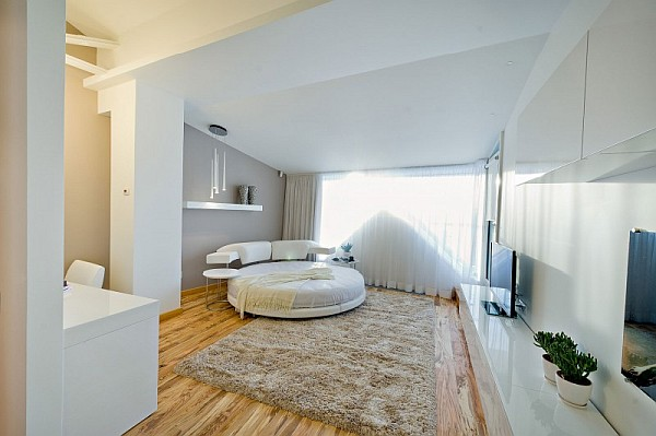 colorful loft apartment contemporary bedroom