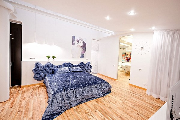 colorful loft apartment fancy bedroom design
