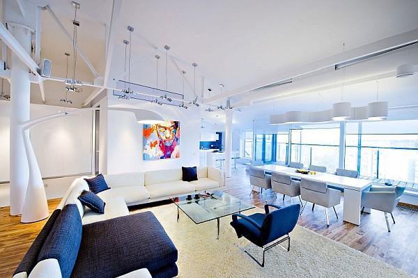 colorful loft apartment ultra modern living room