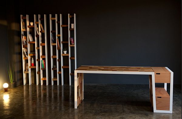 office desk made from recycled wood