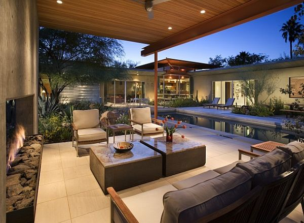 Beautiful seating area with outside fireplace – Sonoran Desert 7