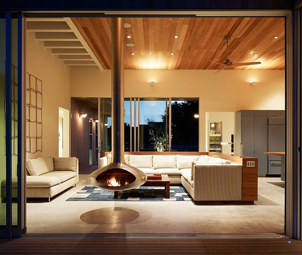 Seadrift Residence  6 – contemporary living room with stylish fireplace