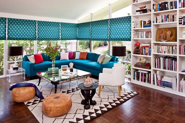 colorful living room decor inspired by Morocco