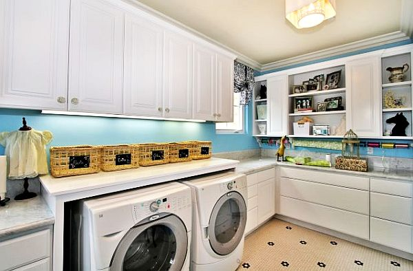 white and blue laundry room design