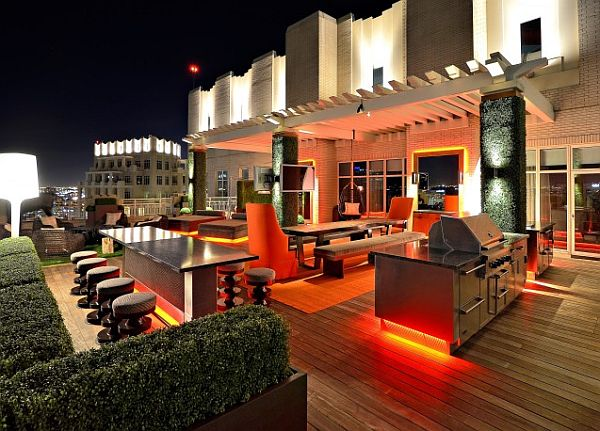Modern Rooftop Garden with Island-bar table and red lighting