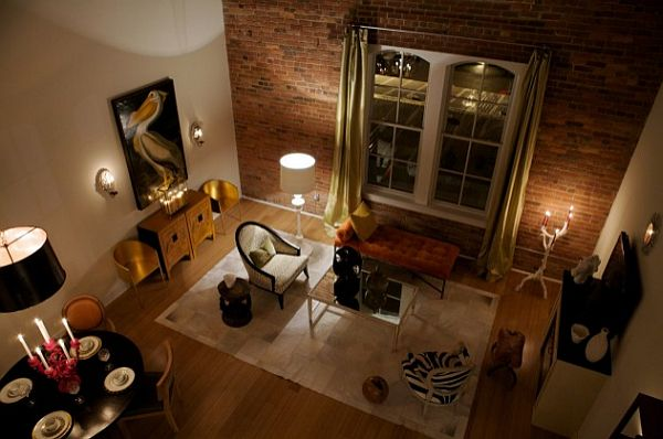 contemporary living room with exposed brick walls