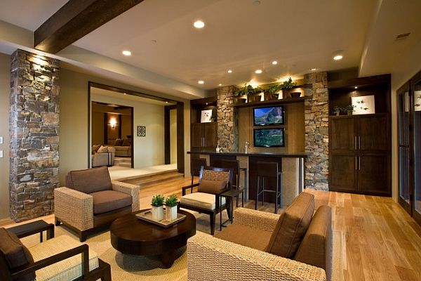 contemporary living room with fieldstone tiles walls