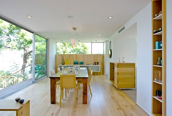 contemporary wooden furnished dining room