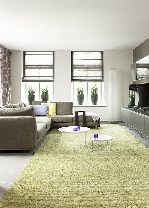 green hued living room with house plants