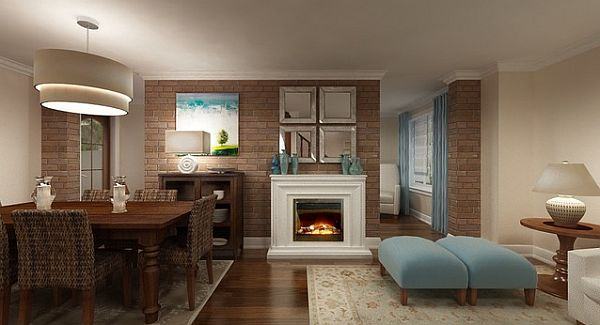 light blue dining room with fireplace