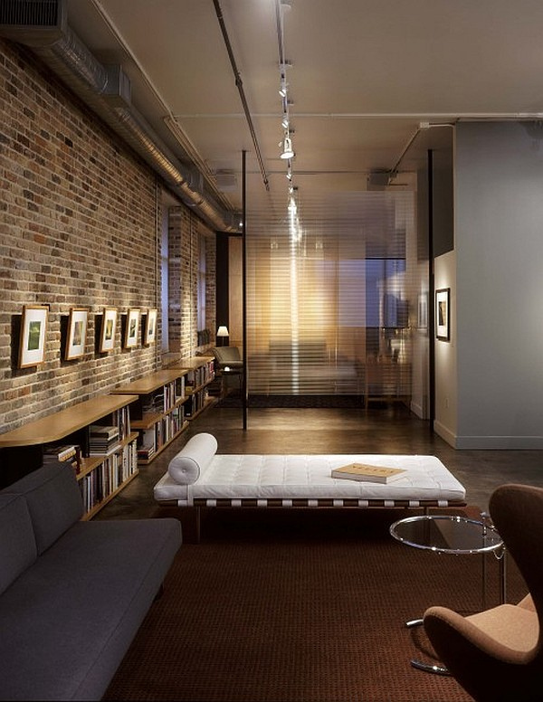 modern reading nook with exposed brick walls