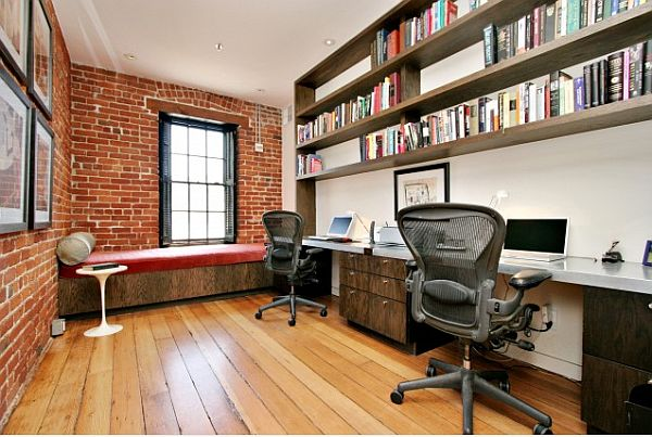 san francisco home office with exposed brick walls
