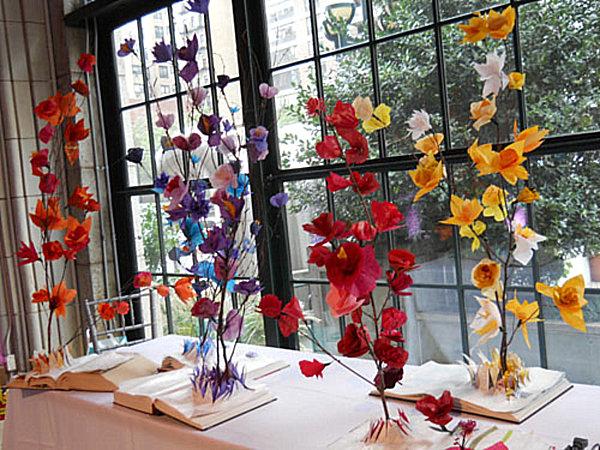 tissue paper flower sculpture