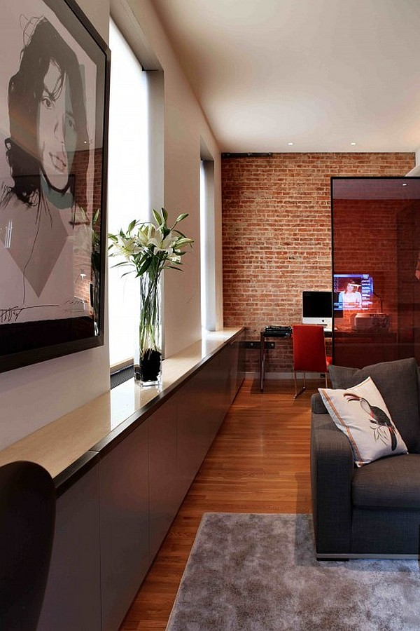 ultra modern living room and home office