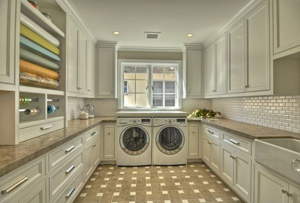 white cabinets laundry room with drawer pulls