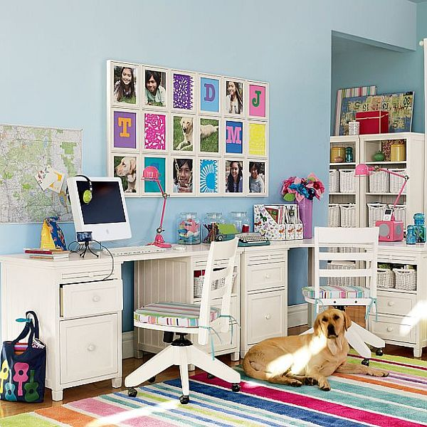 white kids study room with colorful accessories