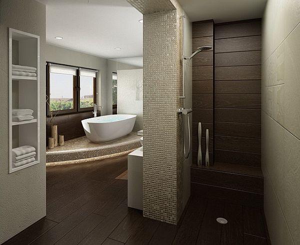 Brown tiles bathroom with door-less shower