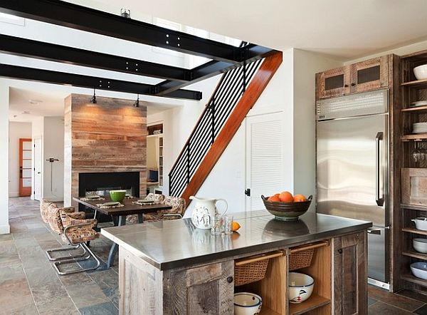 beach house dining table with open space kitchen
