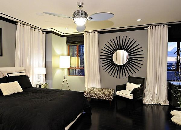 black and white penthouse bedroom decor