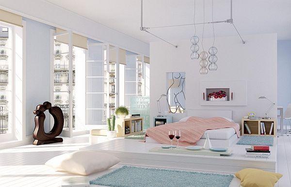 minimalist white penthouse bedroom