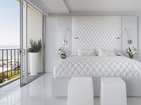 white bedroom with white flooring – Bed quilt and head board