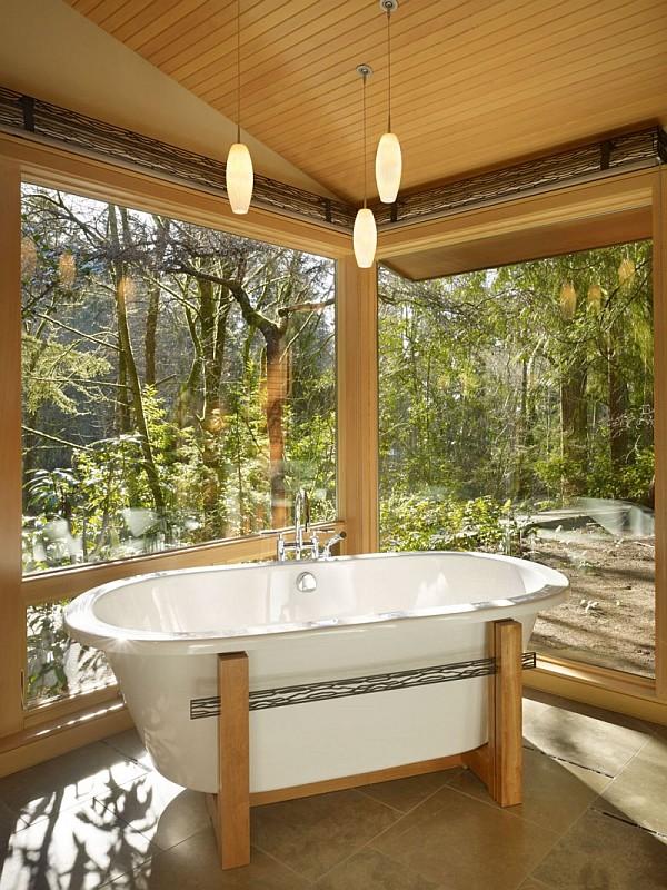 Lake Forest Park Renovation – large windows bathroom design
