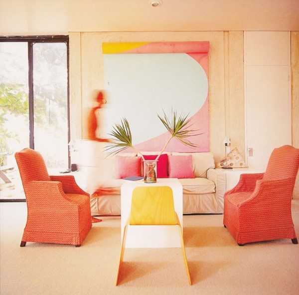 coral pink and yellow living room