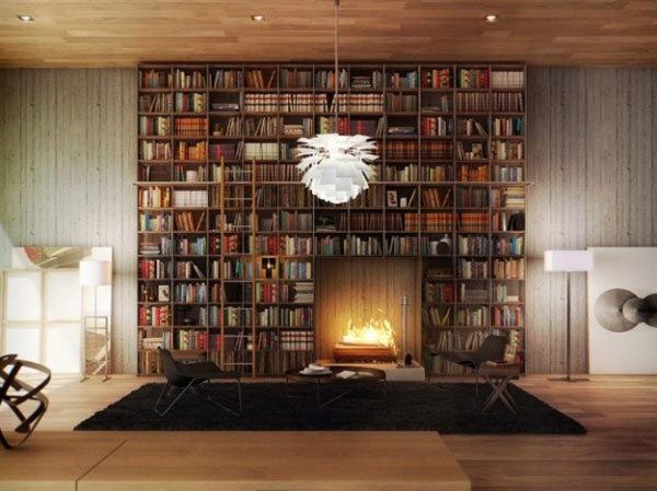 home library with fireplace