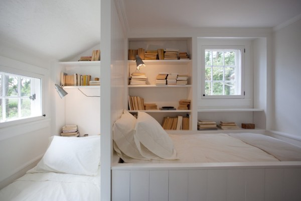 A guest room with a hidden bed