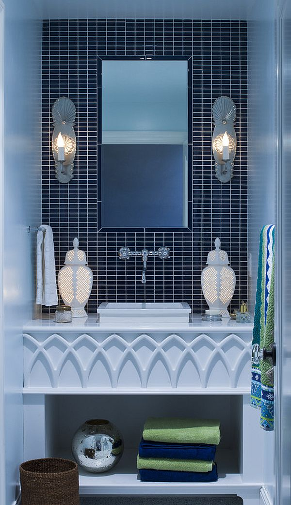 Bathroom Vanity Design in Blue Shades