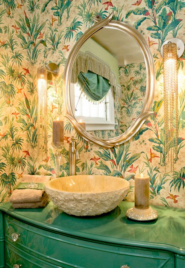 Beautiful floral vanity with oriental patterns