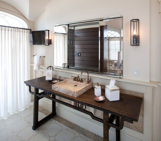 Chinese console table with contemporary vessel sink