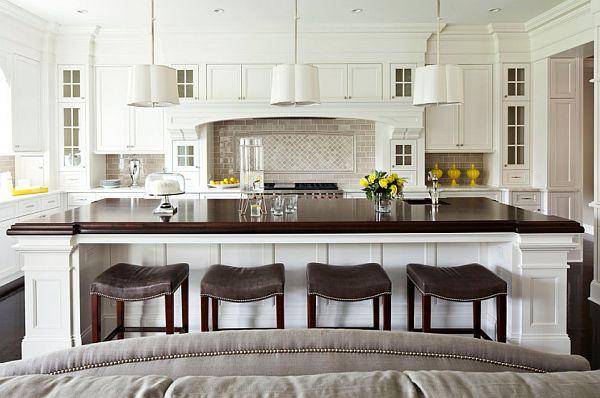 Comfy kitchen stools in white modern kitchen design