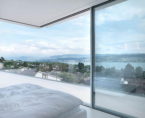 Glass Contemporary Feldbalz House – bedroom views