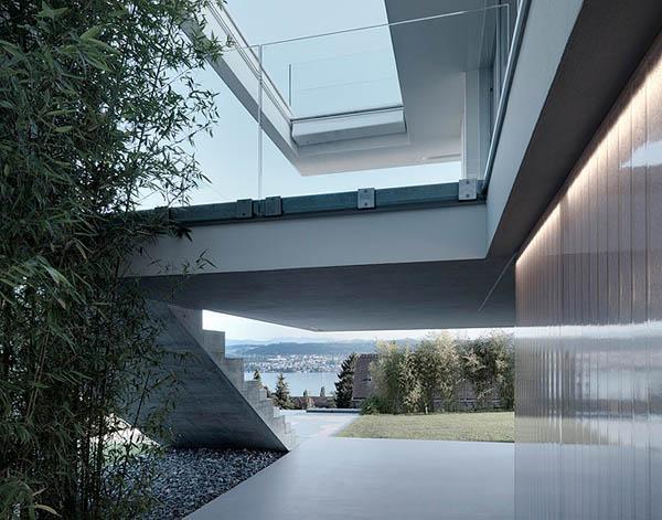 Glass Contemporary Feldbalz House – concrete stairs