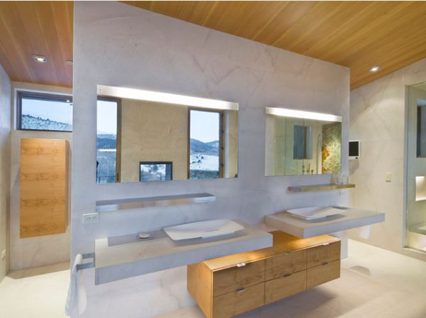 Modern vanity design with floating cabinets