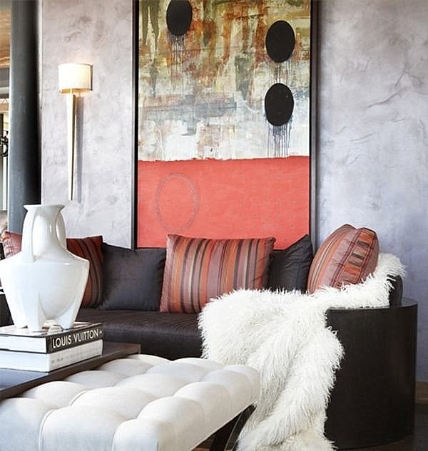 A leather painting technique in an elegant living room