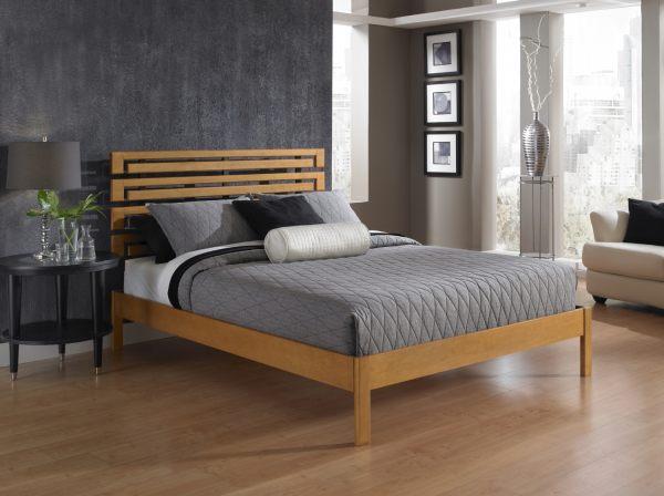 A modern wooden platform bed