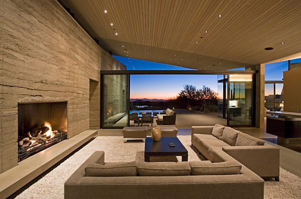 Contemporary living room with rammed earth texture wall