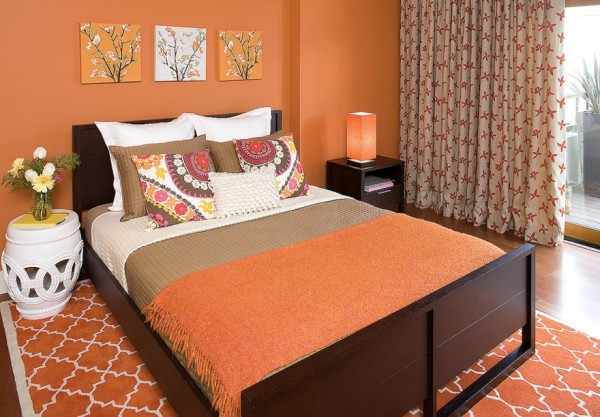 fall bedroom orange colors