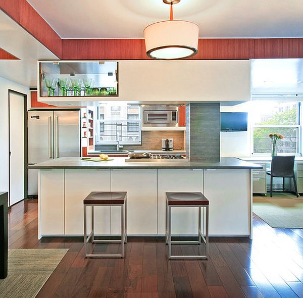 Bamboo floor tile in the kitchen