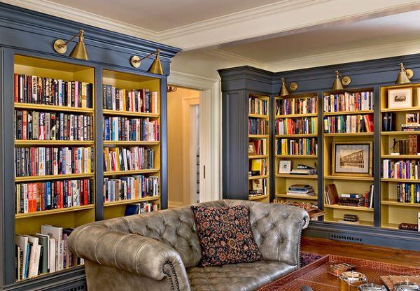 Bermuda blue home library housing a Chesterfield Sofa