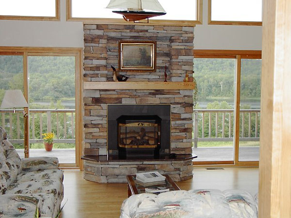 Charming fireplace with a natural backdrop