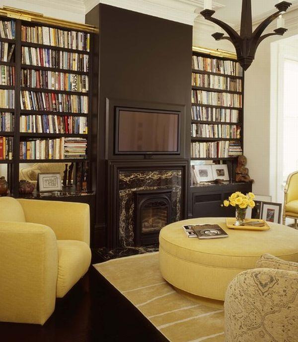 Dark mahogany home library