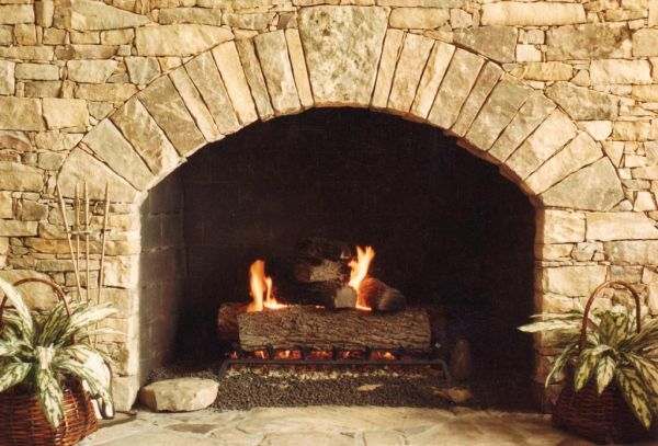 Fireplace for the spacious interiors