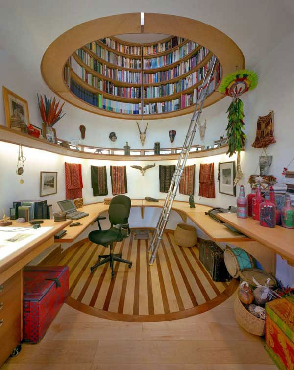 Jaw-dropping home library nestled in the attic space